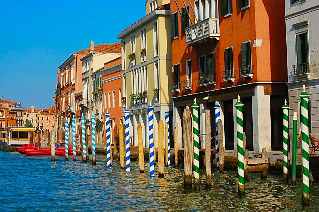 Picture of Venetian mooring poles in Venice Italy