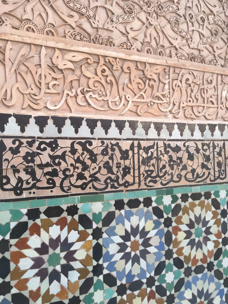 Picture of detailed wall tiles inside Ben Youssef Madrasa Marrakech
