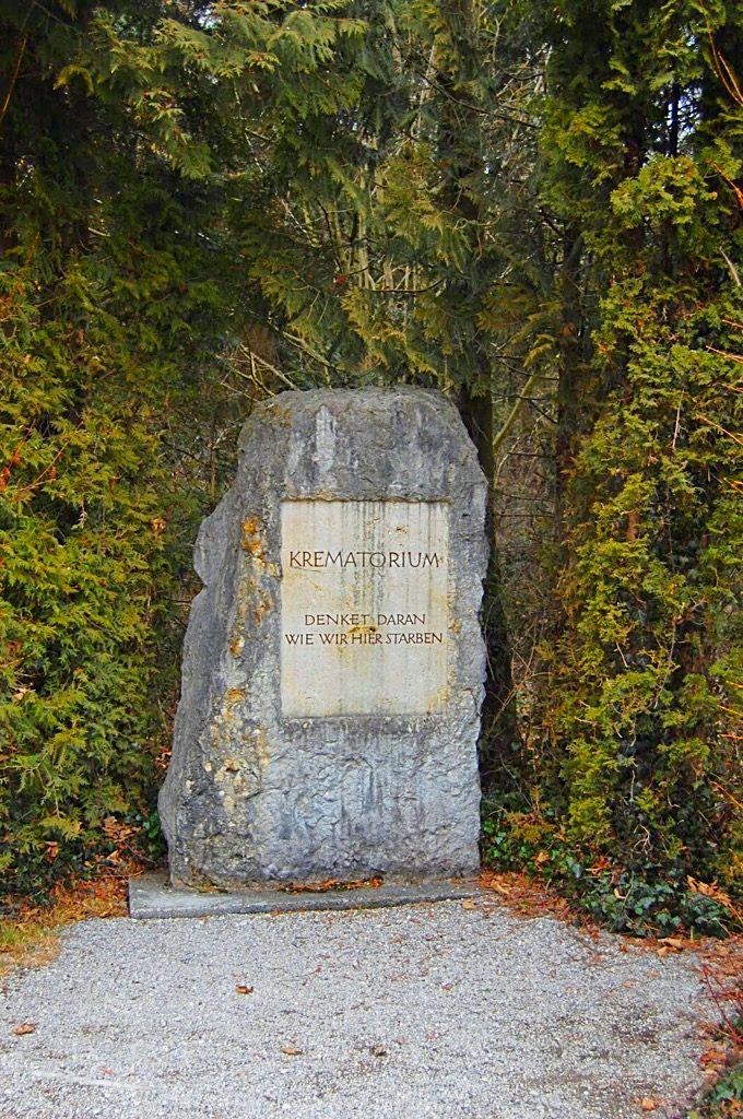 Picture of the Dachau Concentration Camp crematory sign