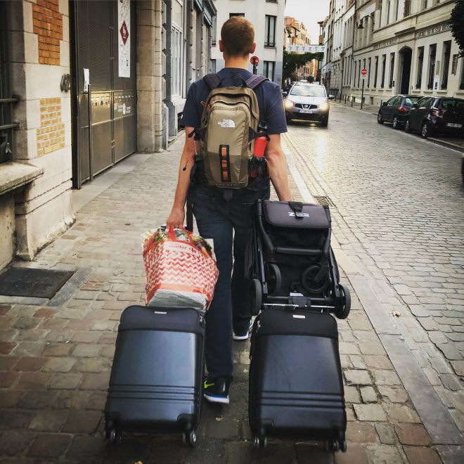 Picture of traveling with small amount of luggage