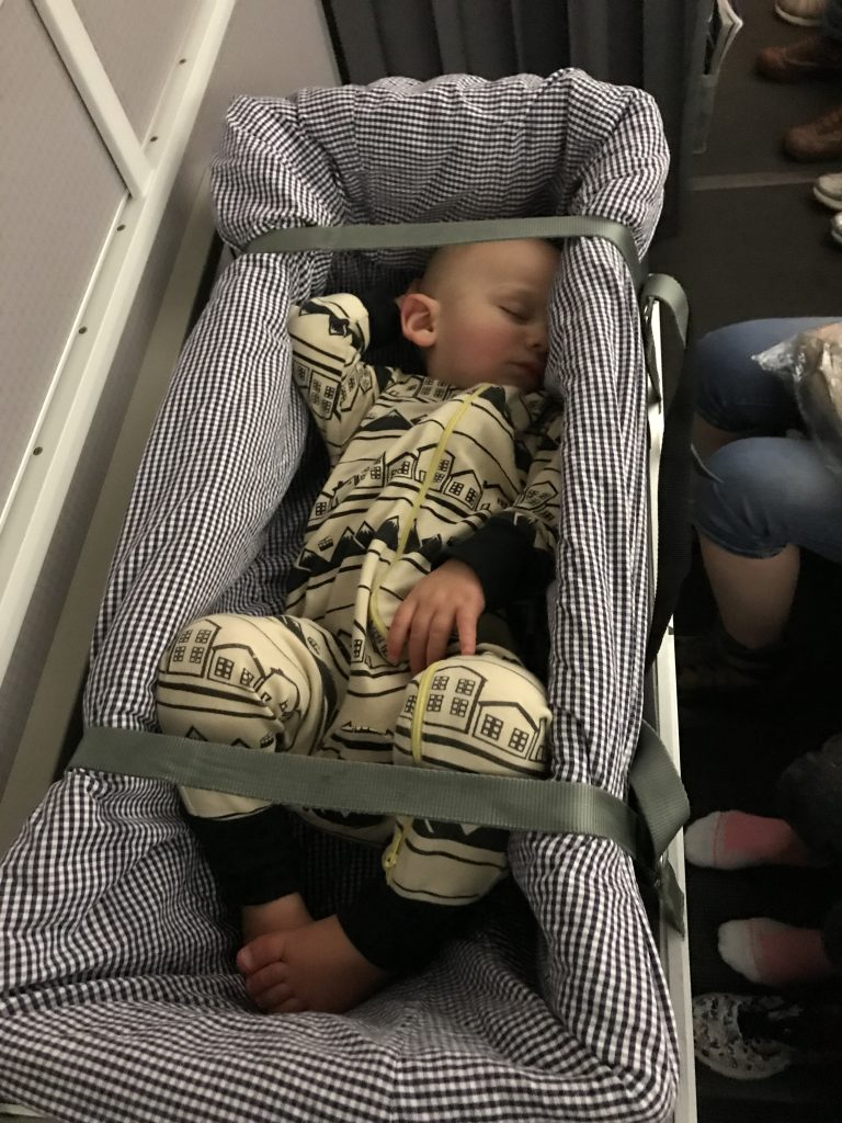 Picture of Baby in Cot on Plane